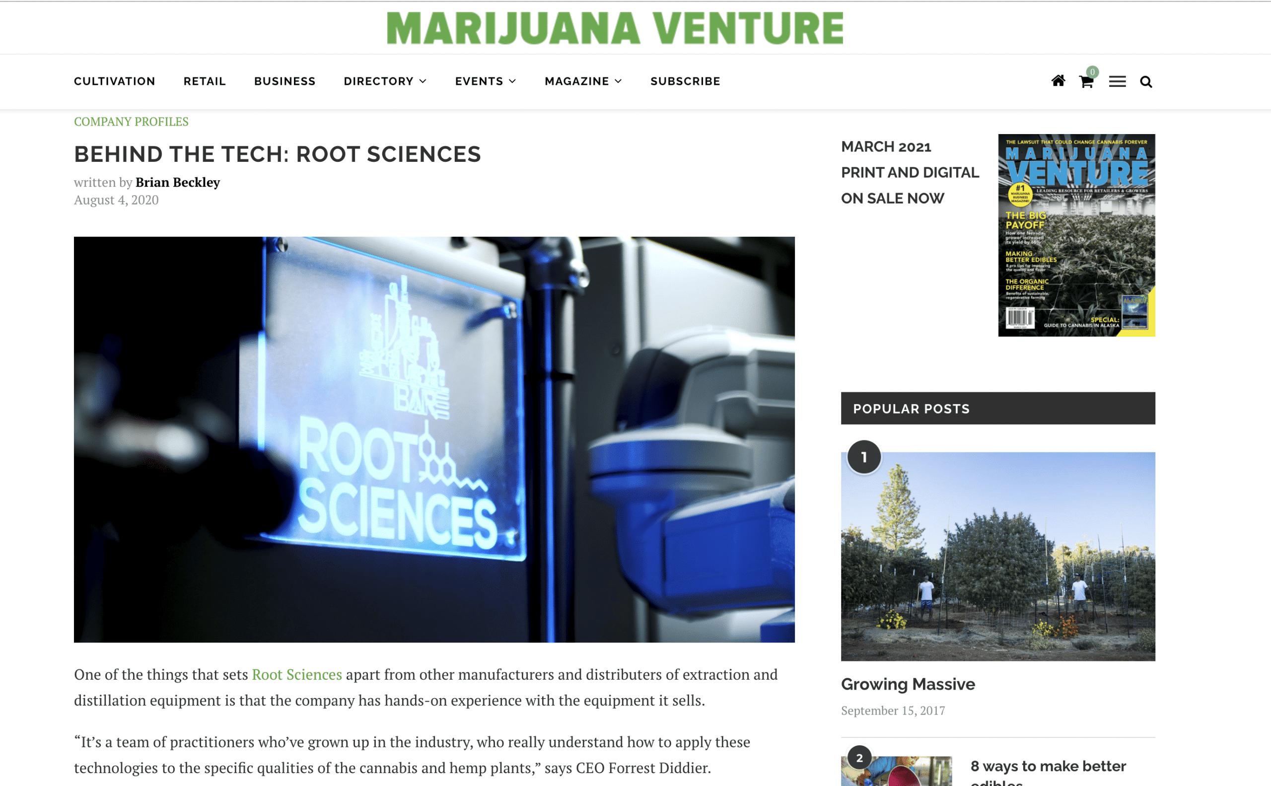 behind the tech marijuana venture root science interview